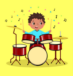 cute boy playing drum on yellow background vector image