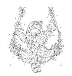 Cute christmas santa claus doodle vector