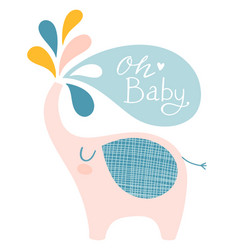 Cute elephant for baby shower vector