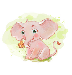 Cute elephant with little flower vector