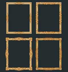 Decorative vintage golden frames old shiny vector