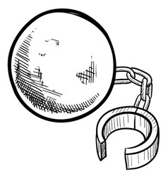 Doodle ball chain freedom debt vector