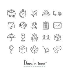 doodle logistics icons vector image