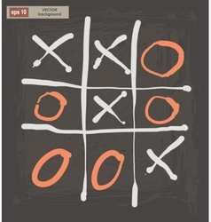 Drawing tic tac toe on a dark background vector