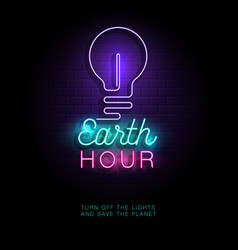 Earth hour neon sign vector