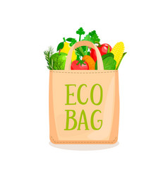 Eco bag full vegetables and fruits vector