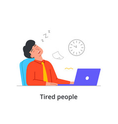 Extremely tired male character is sleeping at work vector