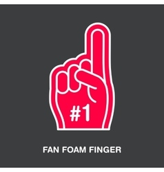Fan foam finger line icon Sport supporting vector
