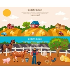 Farm Banner Set vector image