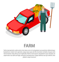 farmer with a pitchfork in hat near pick-up car vector image