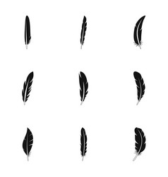 fashion feather icon set simple style vector image