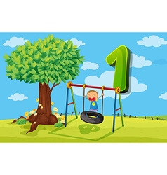 Flashcard number 1 with one children in park vector