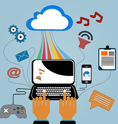 Flat design internet cloud vector image