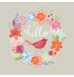Floral Hello card vector
