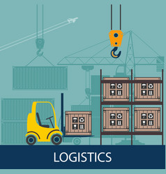 forklifts in the warehouse vector image
