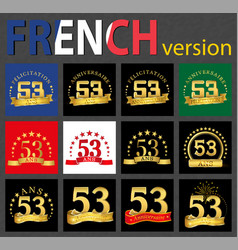 french set of number 53 templates vector image
