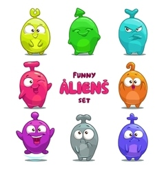 Funny cartoon colorful aliens vector