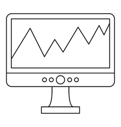 Graph on the computer monitor icon outline style vector