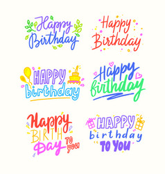 happy birthday cartoon lettering colorful phrases vector image