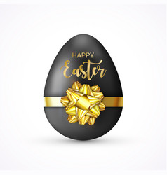 happy easter lettering tag easter egg tied of vector image