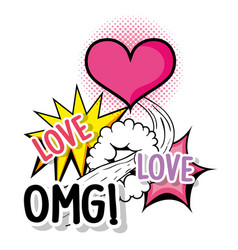 heart love with omg patch message vector image