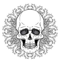 human skull and lotus over mandala inspired sacred vector image