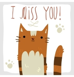 I Miss You postcard vector