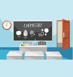 Interior of chemistry classroom vector