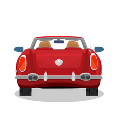 Isolated red retro cabriolet with shadow vector