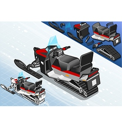 Isometric Snowmobile in Rear View vector image
