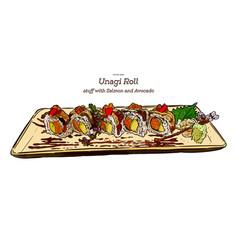japanese traditional food unagi roll sushi hand vector image