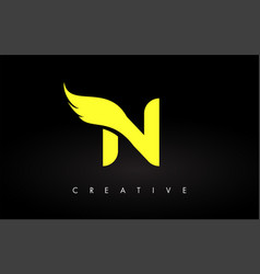 Letter n logo with yellow colors and wing design vector