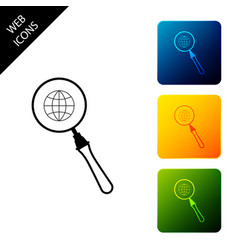 magnifying glass with globe icon isolated vector image