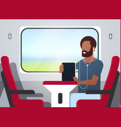 Man train passenger listening audio book with vector