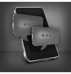 Mobile phone message on black vector