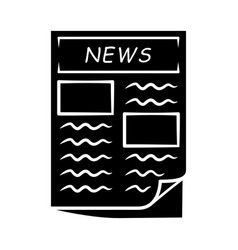 newspaper glyph icon periodical publication daily vector image