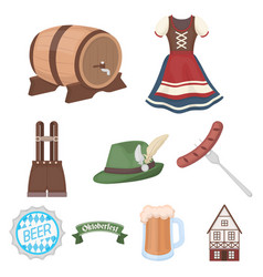 oktoberfest set icons in cartoon style big vector image