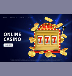 online casino landing page slot machine gamble vector image