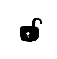 open lock icon grunge brush vector image