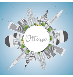 Ottawa Skyline with Gray Buildings vector image