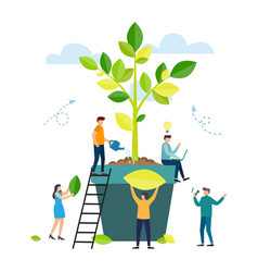 people are working together on tree planting vector image