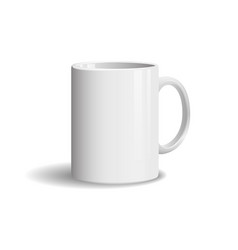 photo realistic white cup on white background vector image