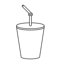 plastic cup drink cola thin line vector image
