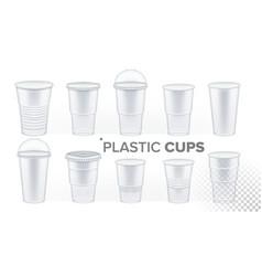 plastic cup transparent set drink mug vector image