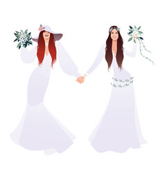 queer wedding couple of newly married lesbian vector image
