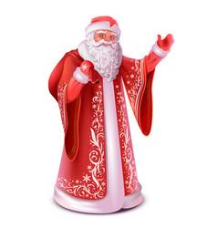 Red russian santa claus do greeting waving hand vector