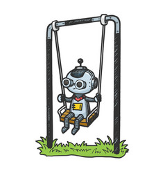 robot child play on swing color sketch engraving vector image