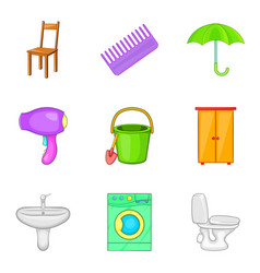 Room work icons set cartoon style vector