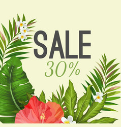 sale poster on background with tropical leaves and vector image