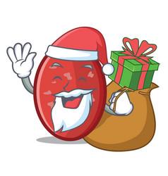 Santa with gift salami mascot cartoon style vector